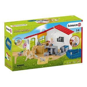 Schleich® Farm World 42502 Tierarzt-Praxis mit Haustieren Spielfiguren-Set