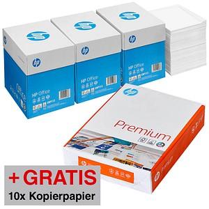 AKTION: HP Kopierpapier Office 80 g/qm 4x 2.500 Blatt + GRATIS 10x HP Kopierpapier Premium 90 g/qm 250 Blatt
