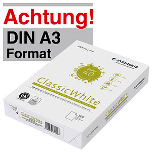 STEINBEIS Recyclingpapier ClassicWhite DIN A3 80 g/qm 500 Blatt
