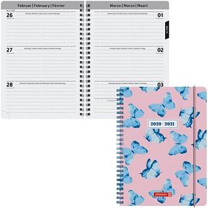 BRUNNEN Schülerkalender Butterfly Juli 2020 - Dezember 2021 rosa/blau