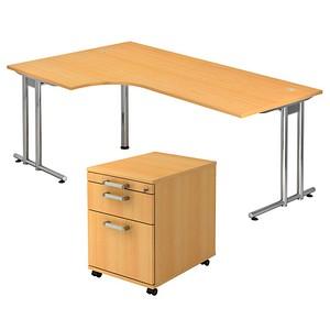 HAMMERBACHER Pedusa Büromöbel-Set buche L-Form