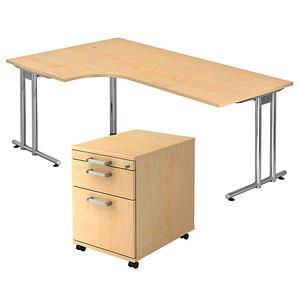 HAMMERBACHER Pedusa Büromöbel-Set ahorn L-Form