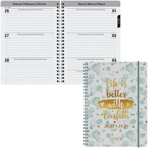 BRUNNEN Schülerkalender Confetti Juli 2020 - Dezember 2021 weiß/gold