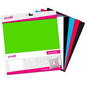 plottiX PremiumFlock Aufbügelfolie 6 St. farbsortiert Flock-Folie 30,0 cm x 30,0 cm, 6 St. PL0101899