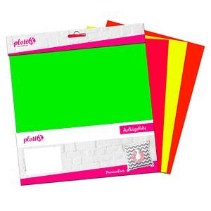plottiX PremiumFlock Neon Aufbügelfolie 4 St. farbsortiert (neon) Flock-Folie 30,0 cm x 30,0 cm, 4 St. PL0101901