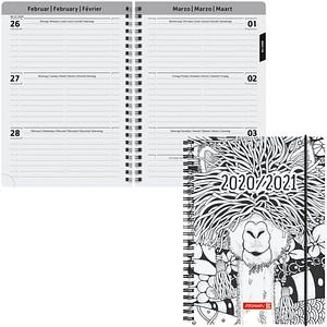 BRUNNEN Schülerkalender Zen Art Juli 2020 - Dezember 2021 weiß/schwarz