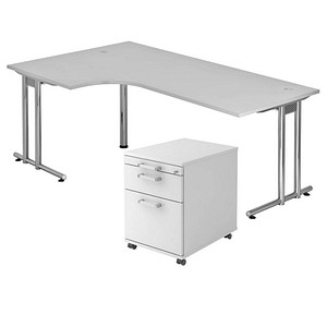 HAMMERBACHER Pedusa Büromöbel-Set grau L-Form