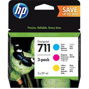 3 HP 711 (P2V32A) cyan, magenta, gelb Tintenpatronen
