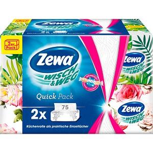 75 Zewa Küchenpapier Einzeltücher WISCH&WEG Quick Pack 2-lagig