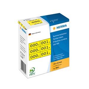 3x1000 HERMA Aufklebernummern 4801 nummeriert von 0-999