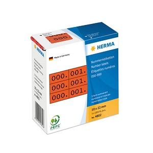 3x1000 HERMA Aufklebernummern 4802 nummeriert von 0-999