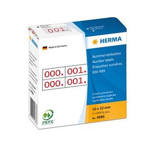 2x1.000 HERMA Aufklebernummern 4886 nummeriert von 0-999