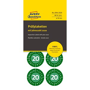 80 AVERY Zweckform Prüfplaketten 6944-2020 grün