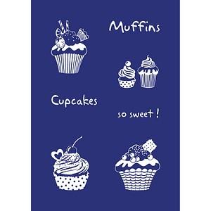 Rayher Siebdruckschablone Cupcakes blau 45080000