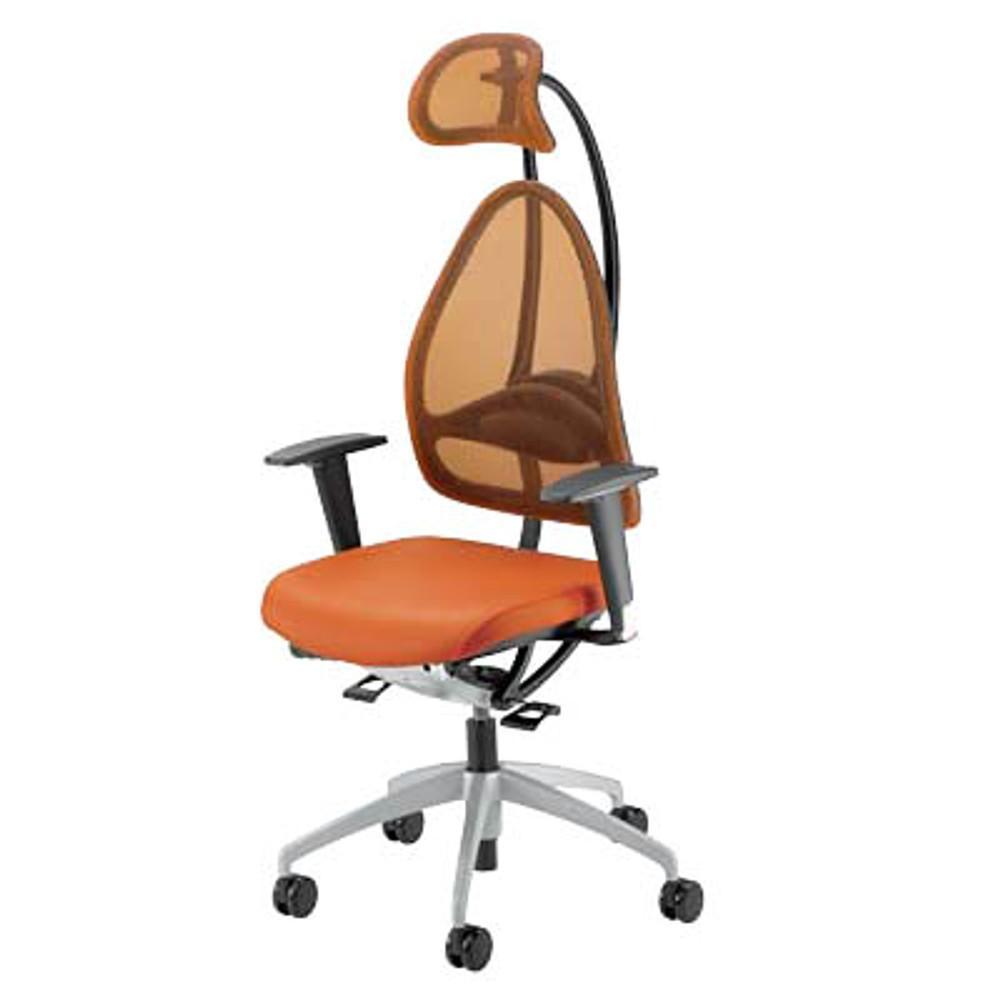 ergonomischer Bürostuhl in orange mit Armlehnen