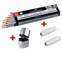FABER-CASTELL GRIP 2001 Bleistift-Set HB 1 St. mit Spitzer und Radierer
