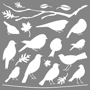 Rayher Dekor-Schablone Vögel grau 38972000