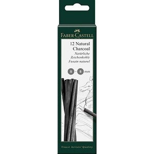 FABER-CASTELL Natural Charcoal Zeichenkohle 12 St.