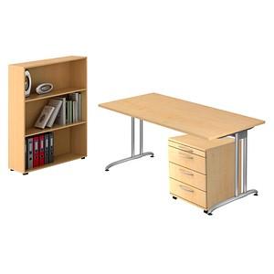 HAMMERBACHER Altus Büromöbel-Set grau rechteckig