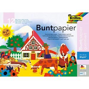 folia Buntpapier gummiert farbsortiert 80 g/qm 12 Blatt