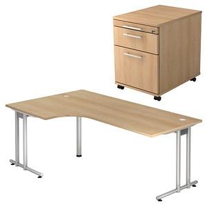 HAMMERBACHER Prokura Büromöbel-Set eiche L-Form