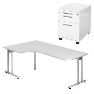 HAMMERBACHER Prokura Büromöbel-Set weiß L-Form