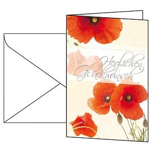 10 SIGEL Glückwunschkarten Red Poppies DS003