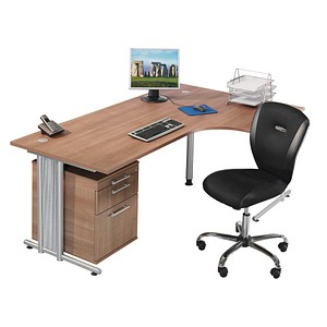 HAMMERBACHER Prokura Büromöbel-Set nussbaum L-Form