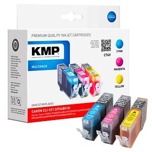 3 KMP C74V cyan, magenta, gelb Tintenpatronen ersetzen Canon CLI-521 C/M/Y