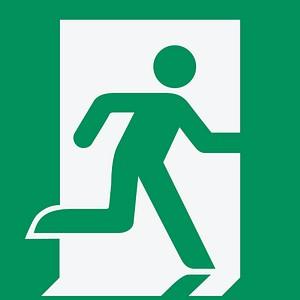 Hinweisaufkleber - Notausgang rechts