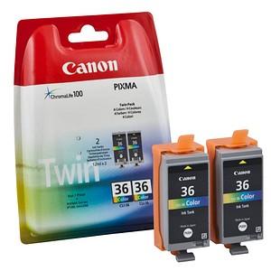 2 Canon CLI-36 Twin-Pack color Tintenpatronen