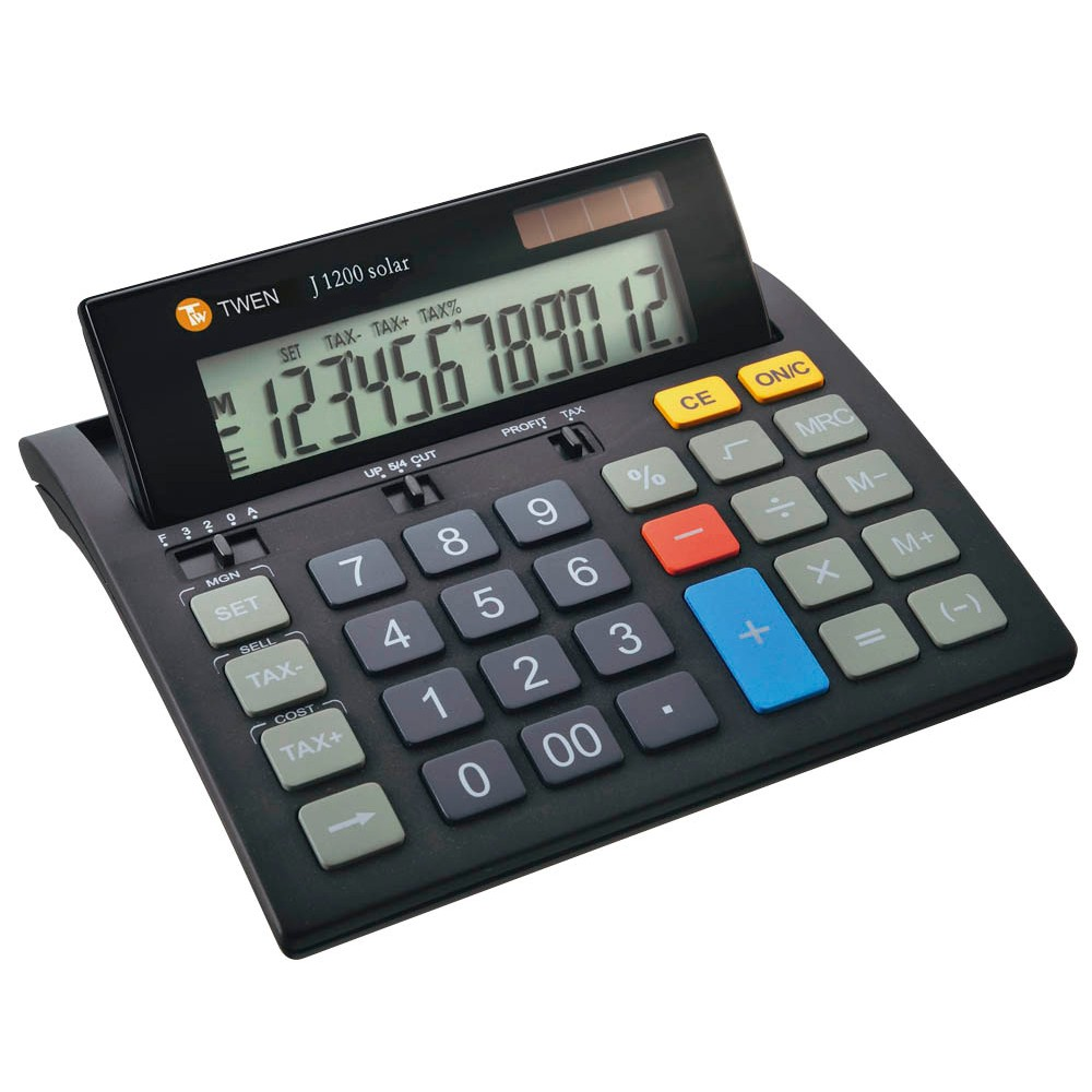 TWEN Tischrechner J-1010 solar schwarz Farbe