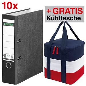 AKTION: 10 LEITZ 1080 Ordner schwarz marmoriert Karton 8,0 cm DIN A4 + GRATIS Kühltasche Marina