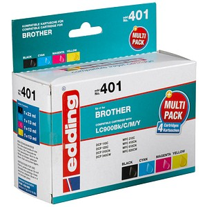 4 edding EDD-401 schwarz, cyan, magenta, gelb Tintenpatrone ersetzt brother LC-900BK/C/M/Y