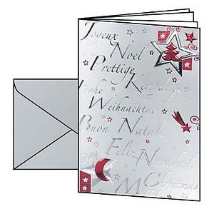 10 SIGEL Weihnachtskarten Silver Star DIN A6 DS362