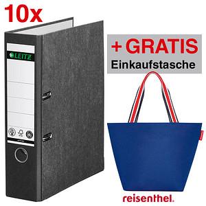 AKTION 10 LEITZ 1080 Ordner schwarz marmoriert Karton 8,0 cm DIN A4 GRATIS reisenthel shopperM nautic