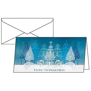 10 SIGEL Weihnachtskarten Blue Trees DIN lang DS030