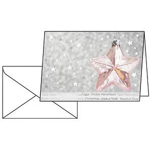 10 SIGEL Weihnachtskarten Rose Star DIN A6 DS016