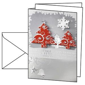 10 SIGEL Weihnachtskarten Three Trees DIN A6 DS454
