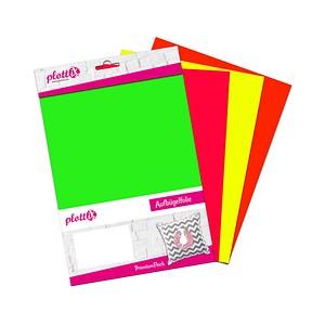 plottiX PremiumFlock Neon Aufbügelfolie 4 St. farbsortiert (neon) Flock-Folie 20,0 cm x 30,0 cm, 4 St. PL0101891