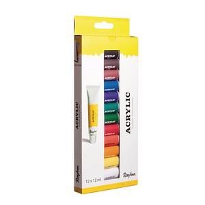 Rayher Künstler-Set mit 12 Farben Acrylfarben farbsortiert 12 x 12,0 ml, 12 St. 38925000