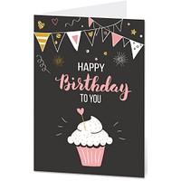 """Grußkarte """"Happy Birthday to You"""" im Cupcake-Design (DIN B6, 4-seitig, mit Umschlag)"""