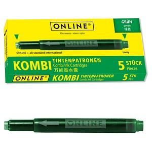 ONLINE® 17144/12 Tintenpatronen für Füller grün 5 St.