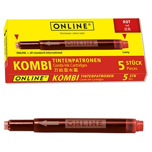 ONLINE® 17307/12 Tintenpatronen für Füller rot 5 St.
