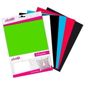 plottiX PremiumFlock Aufbügelfolie 6 St. farbsortiert Flock-Folie 20,0 cm x 30,0 cm, 6 St. PL0101889